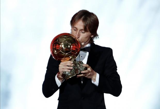 Real Madrid's Luka Modric with the Ballon d'Or award.