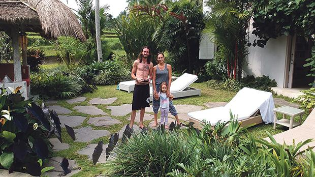 Steve and Zanna Mercieca with daughter India at their holiday villa in Bali.