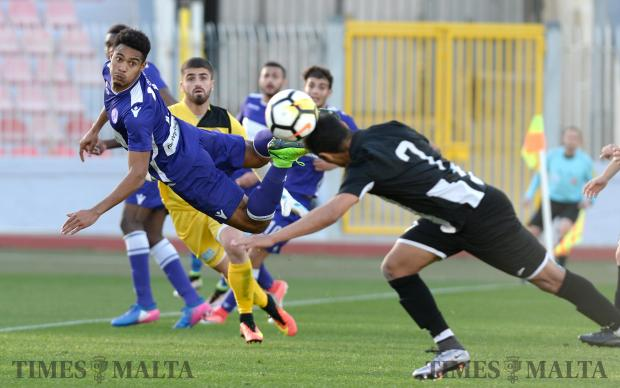 St Andrew's Emmy Manuel Pena Beltre tries to connect with the ball during their BOV Premier League match against Hibernian's at the National Stadium in Ta'Qali on December 17. Photo: Matthew Mirabelli