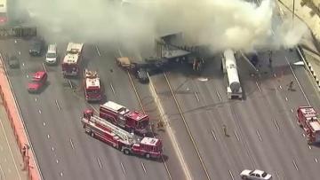 One dead, 10 injured in fiery Los Angeles crash