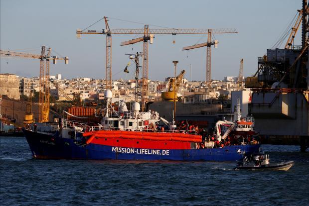 The MV Lifeline arriving in Malta last Wednesday.