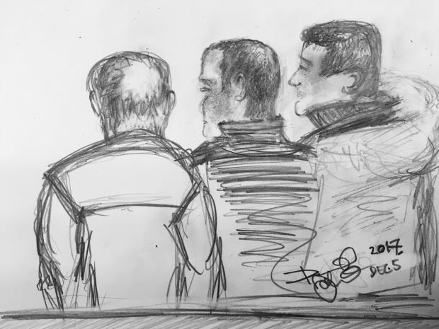 Sketch of the three accused men in court. Sketch: David Johansson.