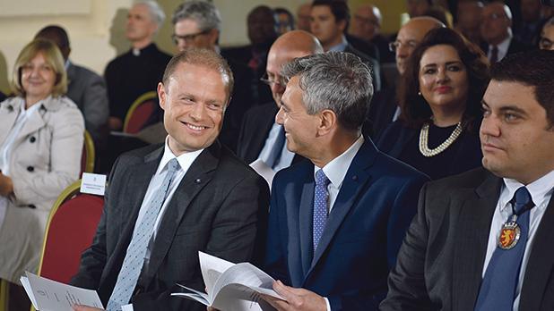 Joseph Muscat and Opposition leader Simon Busuttil chat during the Sette Giugno ceremony in Valletta, shortly after the 2017 general election. Photo: Mark Zammit Cordina