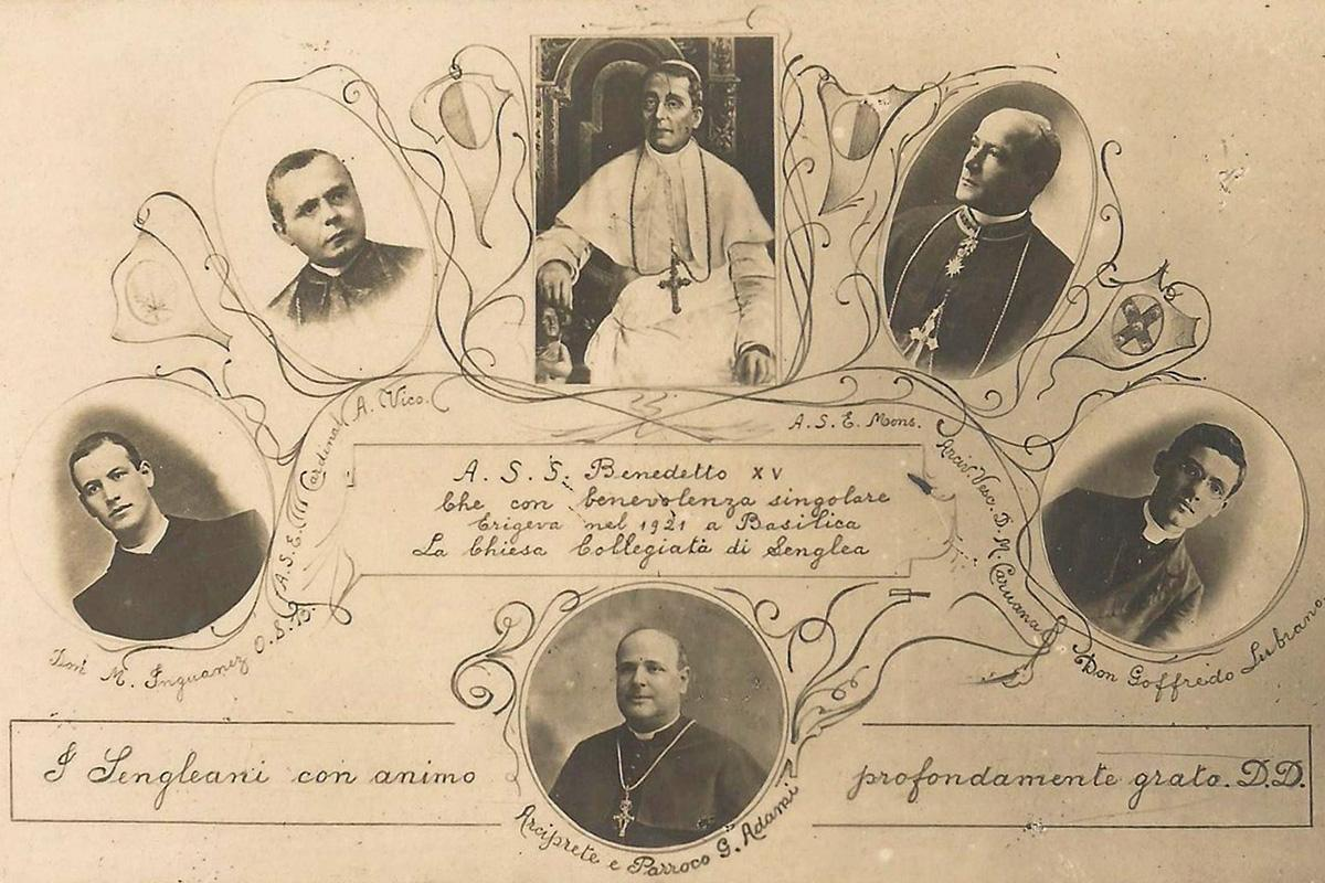 A commemorative card distributed in thanks to (from left to right) Dom Mauro Ingranez, OSB, Cardinal Antonio Vico, Pope Benedict XV, Archbishop Dom Mauro Caruana, OSB, Can.  Goffredo Lubrano and (lower part) Can.  Giuseppe Adami, Archpriest of Senglea.