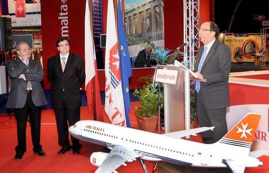 Air Malta chairman Lawrence Zammit speaking at the opening of Amitex this morning.