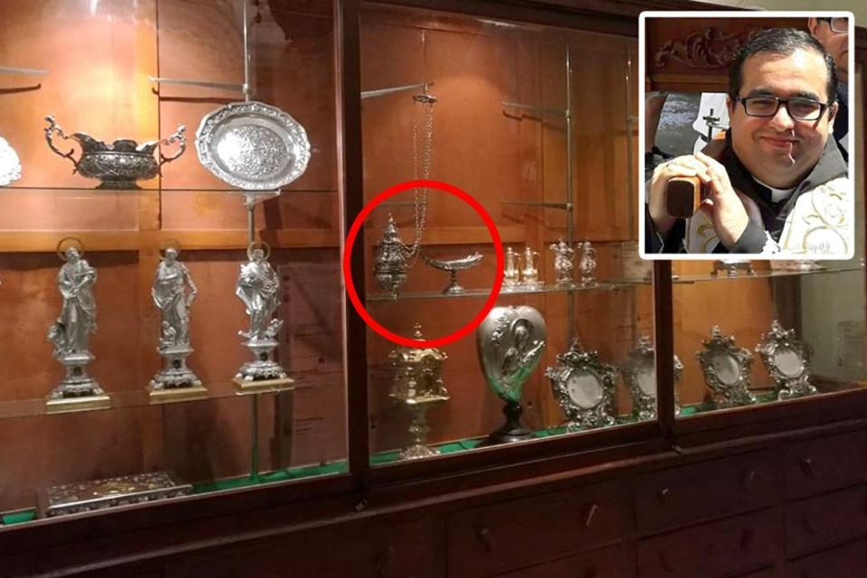 The stolen censer and incense boat (circled) that was found in antiques shop and connected Fr Deo Debono (inset) to the incident.