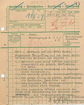 A report dated April 27, 1944, from Korpsgruppe Ioannina to the German High Command (See translated text above). Source: Bundesarchiv Freiburg