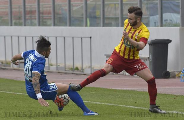 Birkirkara's Ryan Scicluna (right) fouls Tarxien Rainbow's Joao Pedro during their Premier League football match at the Hibs Stadium in Corradino on March 5. Photo: Mark Zammit Cordina