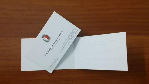presidential business cards in braille