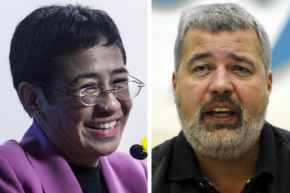 Ressa y Muratov: los ganadores del Premio Nobel de la Paz 2021.  Foto: AFP