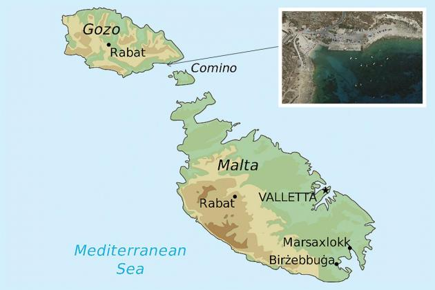 Map of the Maltese islands indicating the site from where seawater samples were collected.