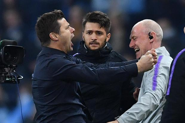 Tottenham manager Mauricio Pochettino celebrates his team's qualification to the semi-finals of the Champions League.