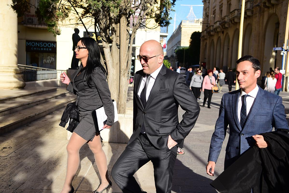 Yorgen Fenech (centre) walks into court with two of his lawyers, Camilleri and Caruana Curran, in November 2019. Photo: Mark Zammit Cordina