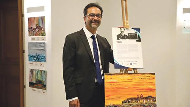 Victor Grech at the Hilton exhibition.