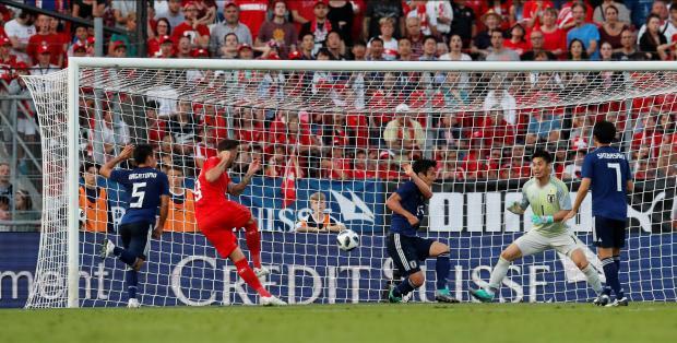 Switzerland's Haris Seferovic scores their second goal.