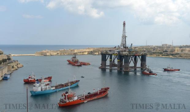 An oil rig makes its way out of the Grand Harbour on March 14. Photo: Matthew Mirabelli