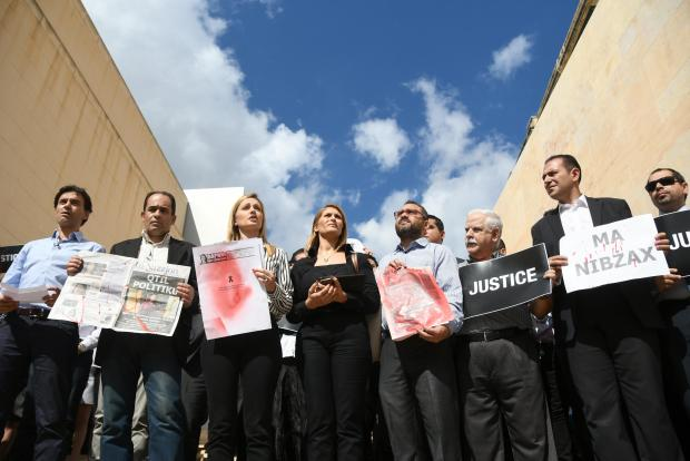 Maltese media held a march days after Caruana Galizia's murder.