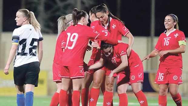 Malta players reacting after scoring against Estonia. Photo: Domenic Aquilina/MFA