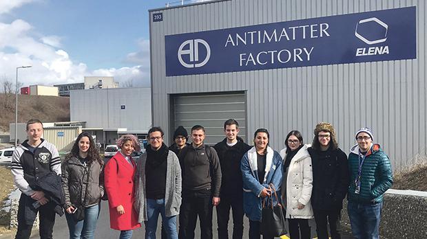 The delegation outside CERN's antimatter factory (from left) Andreas Diacono, Anthea Tabone, May Hefney, Karl Bartolo, Justin Spiteri, Francesco Pavia, Edward Thake, Eleni Singh, Leah Vella, Luke Camenzuli and Christian Grech.