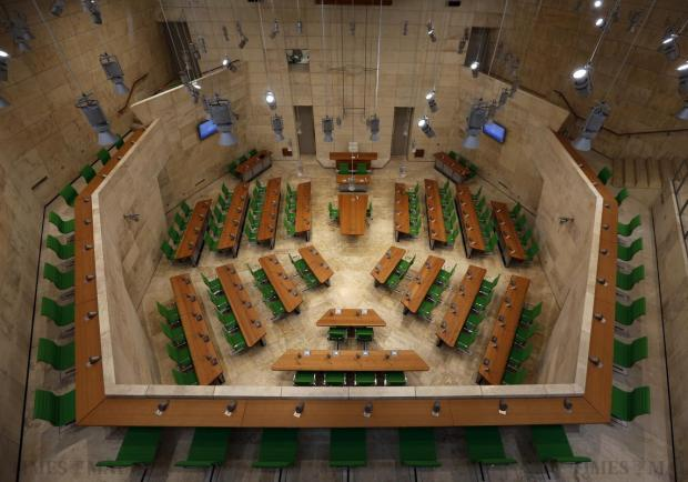 The parliamentary chamber is seen at the new Parliament house in Valletta on April 28. Photo: Darrin Zammit Lupi