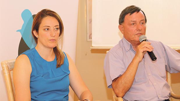 Alfred Sant is seen here addressing participants, with Roberta Metsola. Photos: Charles Spiteri