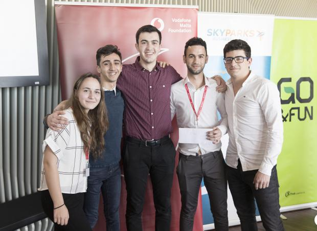 Megan Montebello, Liam Attard, Matthew Axisa, Gabriele Borg and Benjamin Barthet are all smiles after being announced the winners of the Vodafone Malta Foundation Hackathon: Innovating for Good.