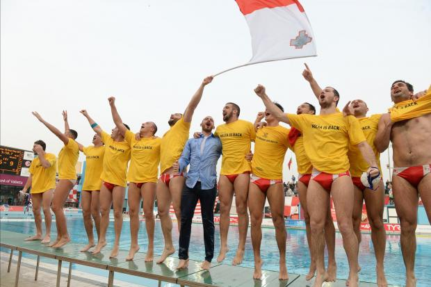The Maltese team celebrates after the victory. Photo: Matthew Mirabelli