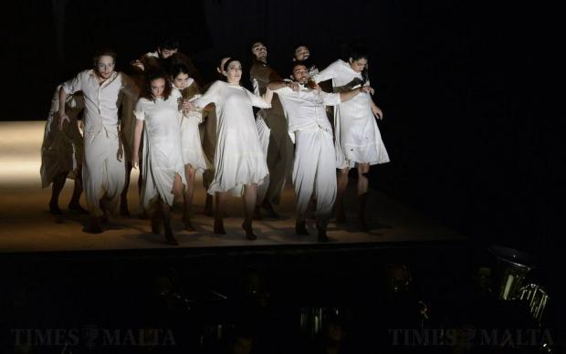 Dancers perform at the Malta EU Presidency opening ceremony at the Mediterranean Conference Centre in Valletta on January 11. Photo: Matthew Mirabelli