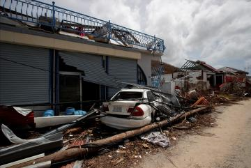 Damaged houses in the French Caribbean islands of St Martin. Photo: Reuters