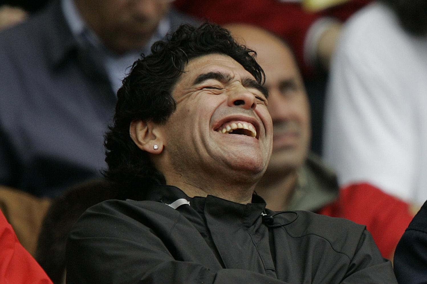 A laughing Maradona in 2005. Photo: AFP