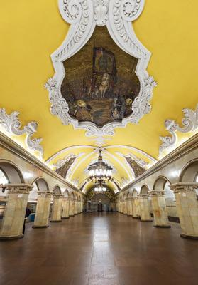 Komsomolskaya, one of Moscow's uniquely designed metro stations.