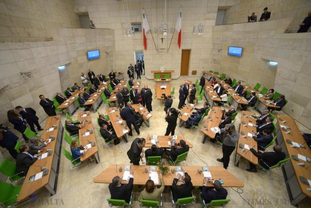MPs find their seats in the new Parliament at City Gate as they enter the new chamber on May 4. Photo: Matthew Mirabelli