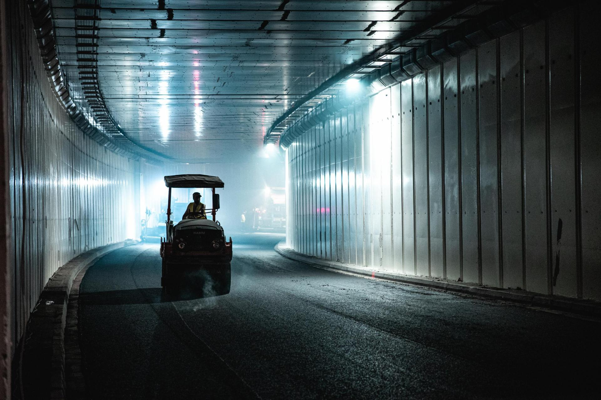Asphalt laying at Tal-Qroqq, the newer of the three tunnels. Photo: Infrastructure Malta