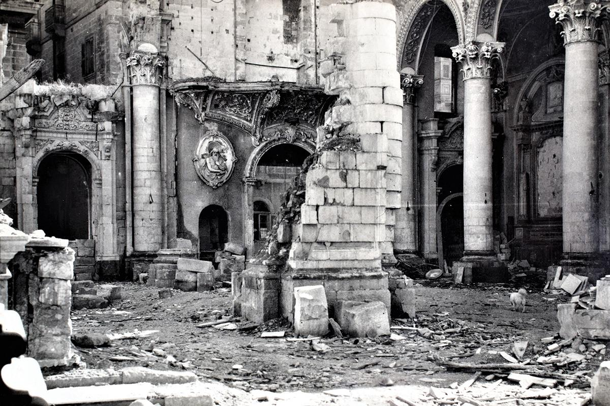 The church of the Annunciation, in Vittoriosa, badly damaged by enemy action in World War II. Photo: Alfred Vella Gera