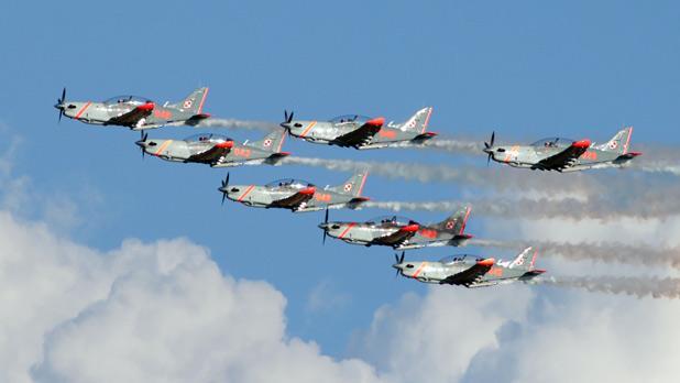 The Polish Air Force Orlik Aerobatic Team at the Malta International Air Show. Photo: Aron Tanti