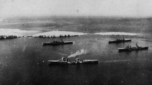 Four Italian cruisers off St Paul's Island during the morning of September 11, 1943, The Aosta (foreground) is still entering the bay. The others, already anchored, are the Garibaldi (left), the Abruzzi (right, background) and the Montecuccoli.