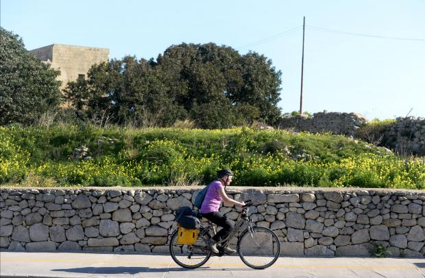 A lady cycles along the path just outside Mosta on January 16. Photo: Matthew Mirabelli
