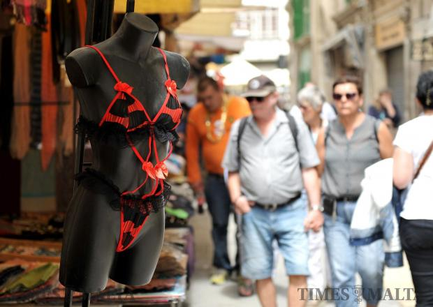 A mannequin torso models a bikini at the Valletta open market on May 2. Photo: Chris Sant Fournier