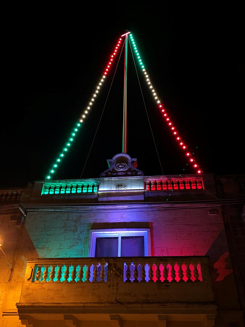 Caption Festa roof decorations have been replaced by Italy ones for the time being. Photo: Luke Spiteri