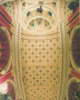 The sanctuary's richly decorated vault designed by Tumas Dingli. Photo: Marquis Chev. A. Cassar De Sain