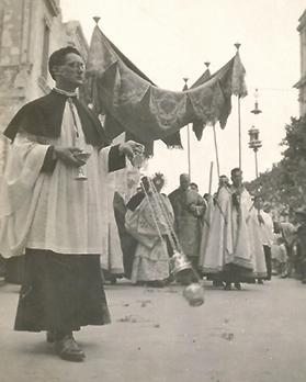 John Sladden as a seminarian taking part in a Corpus Christi procession from St John's Co-Cathedral, Valletta, as a censer bearer.