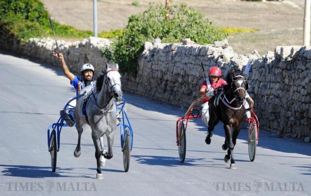 The traditional horse races during the l-Imnarja feast at Saqqajja hill, near Rabat on June 29. Photo: Steve Zammit Lupi