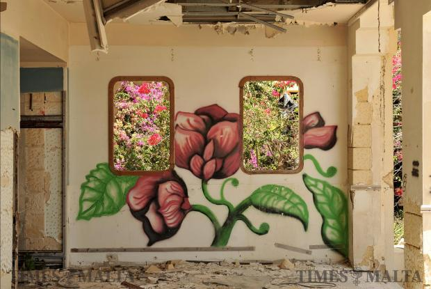 Graffiti decorate the walls of the Jerma Palace in Marsascala on June 25. Photo: Chris Sant Fournier