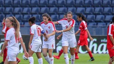Kailey Willis (left) celebrates with Veronique Mifsud and Maya Lucia after one of the goals. Photo: Malta FA