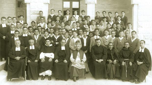 Mgr Galea visited De La Salle College on May 12, 1946, for the celebration of the silver jubilee of the Sodality of Our Lady. He is seen in centre, front row, with (from left) Bro Lambert FSC, Bro Felix FSC, Fr Joseph Falzon OP, Bro Aloysius FSC, Fr Joseph Burlò, Fr Joseph Minuti, Fr Stephen Barbara OFM Cap and Bro Michael FSC.