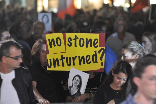 Activists accuse the government of not doing enough to catch the people behind Ms Caruana Galizia's murder. Photo: Chris Sant Fournier