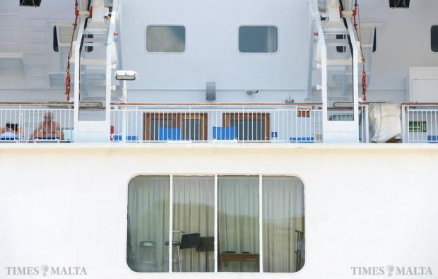 Stools and chairs are hidden behind a curtain on board a cruise liner berthed in Valletta on July 5. Photo: Matthew Mirabelli