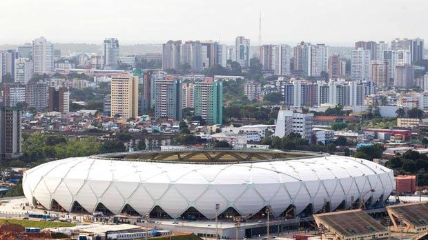An aerial view shows Arena Amazonia soccer stadium two days before its scheduled inauguration in Manaus. Photo: Bruno Kelly/Reuters