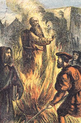 The burning at the stake of a heretic.