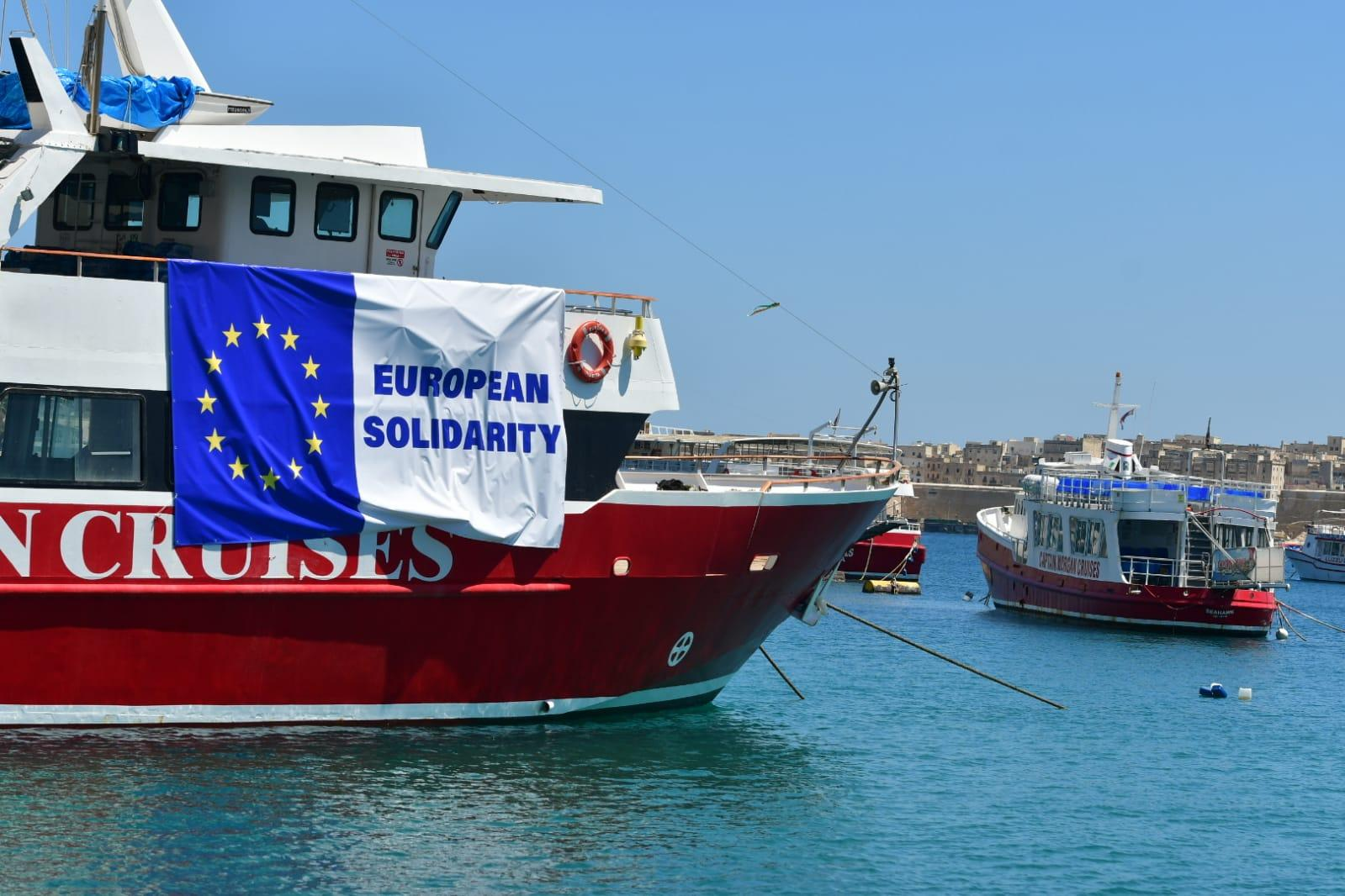 The Captain Morgan vessel bearing an EU flag and the phrase 'European Solidarity'. Photo: Jonathan Borg